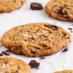 veagn chocolate chip cookie with chocolate pools and flaky sea salt