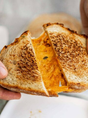Vegan Grilled Cheese Recipe - Cheese Pull   The Hangry Chickpea