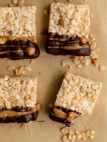 Vegan Rice Krispie Treats with Chocolate and PB