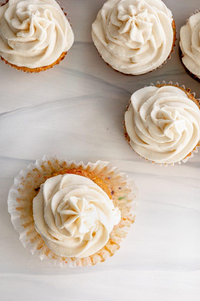 Vanilla funfetti cupcakes overhead