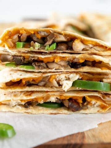 vegan mushroom quesadillas with jalapenos