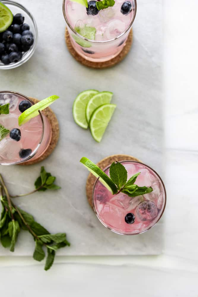 Blueberry Mint Mojito overhead   The Hangry Chickpea