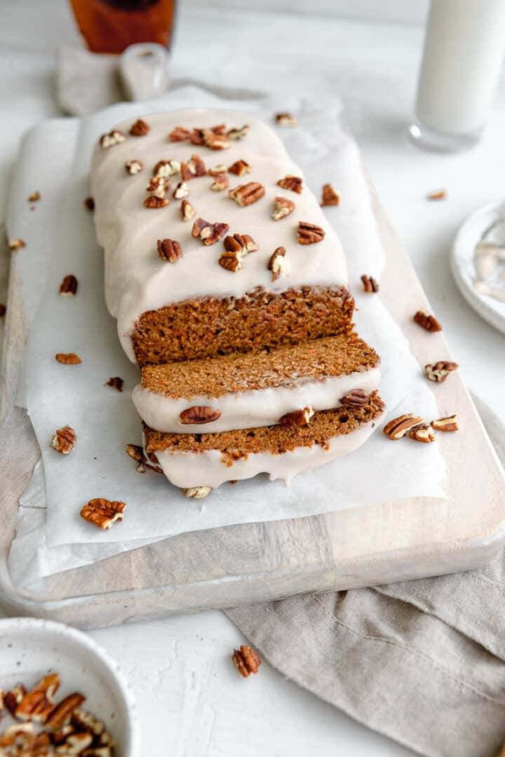 vegan carrot cake bread slices with chopped pecans